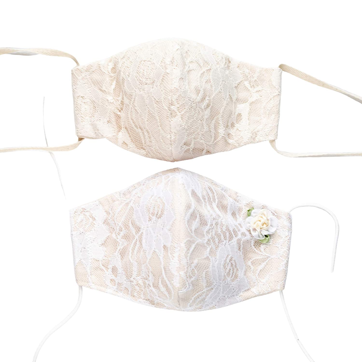 Raleigh Mall Lace shop Face Mask for Rustic Wedding O Ties - White or Elastic