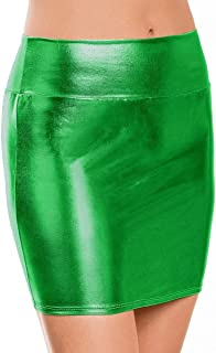 Women's Shiny Metallic Liquid Mini Skirt Above Knee Wet Look High Waist Stretchy Bodycon Pencil Skirt
