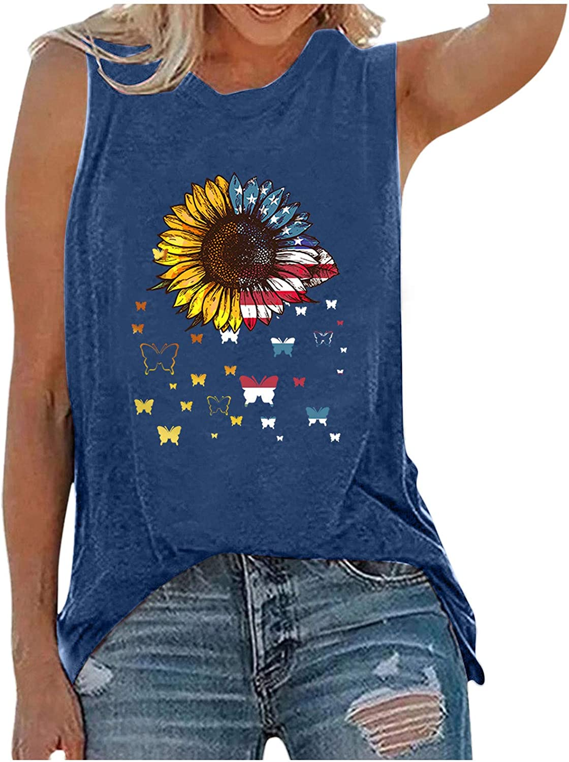 Summer Shirts for Women,Womens Summer Tank Tops Crew Neck Sleeveless Sunflower Cute Printed Casual Loose Fit Tee Shirts