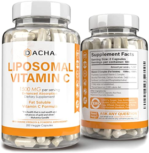 Natural Liposomal Vitamin C - 200 Capsules, 1500mg, Immune System & Collagen Booster, High Absorption Fat Soluble VIT...