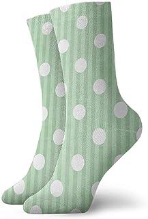 Rayas de lunares blancas verdes para mujer calcetines cortos de 30 cm calcetines clásicos de algodón para yoga senderismo ciclismo correr fútbol deportes