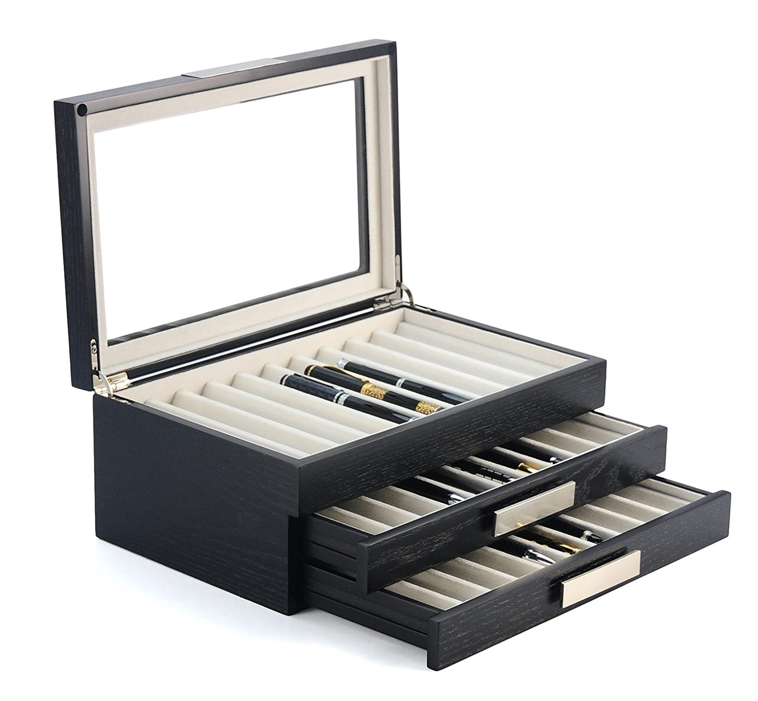 30 Piece Black Ebony Wood Pen Display Case Storage and Fountain Pen Collector Organizer Box with Glass Window Three Level Display Case with Drawers