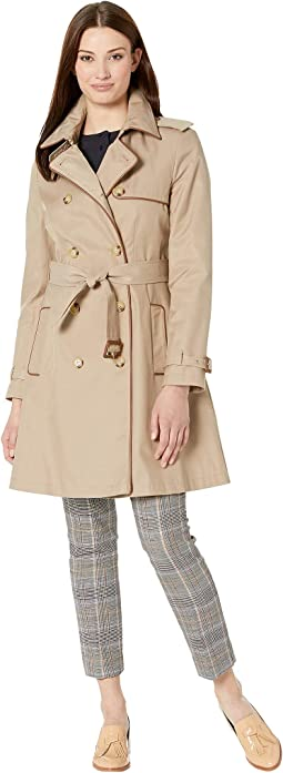 Double Trench with Faux Leather Trim