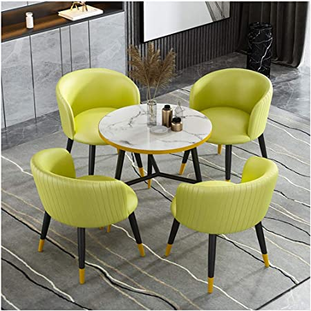 Amazon Com Office Table And Chair Combination Leisure Table And Chair Set Cafe Restaurant Bedroom Kitchen Table And Chairs 1 Table And 4 Chairs 80cm Small Round Table Leather Balcony Table And
