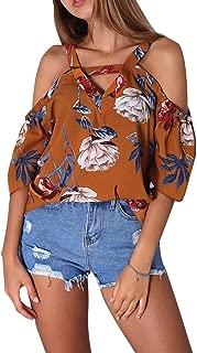 Cold Shoulder V Neck Short Sleeve Floral T-Shirts Women Summer Causal Blouse Top
