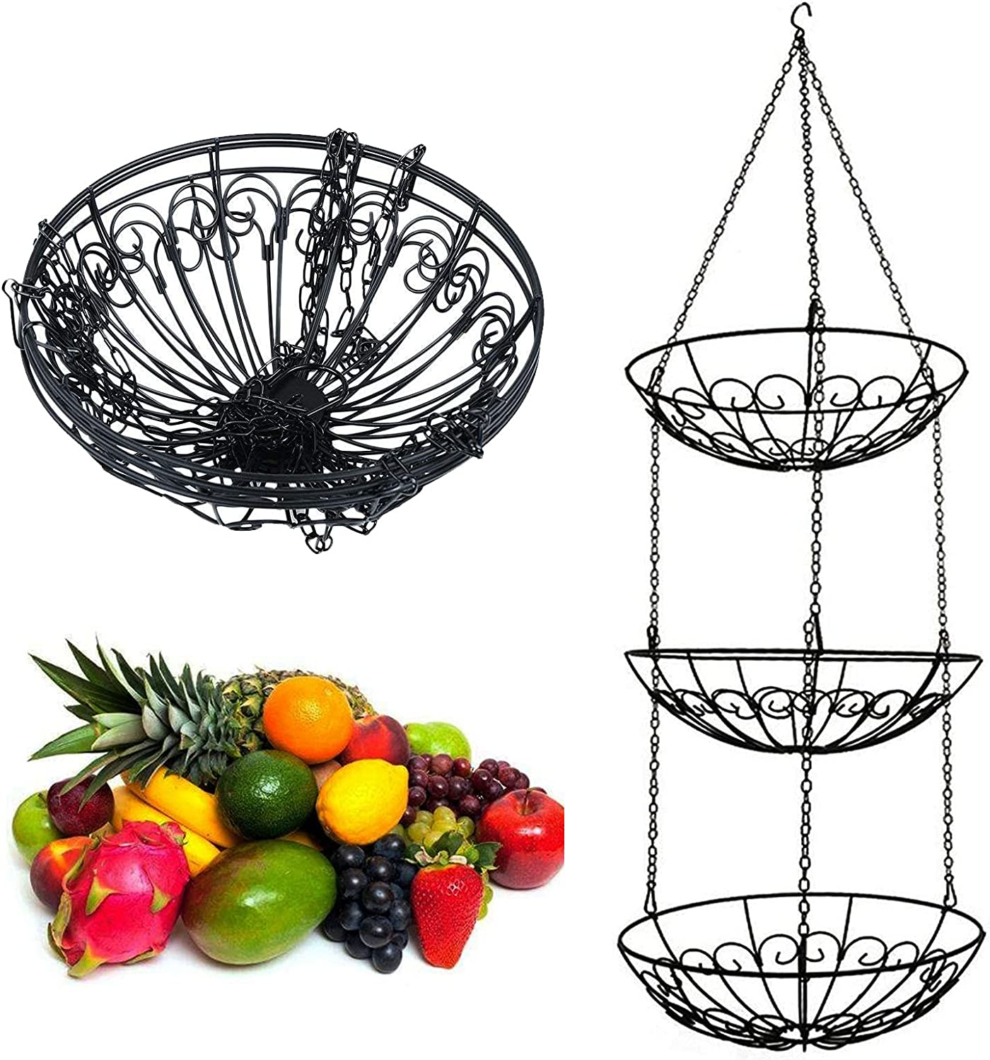 3 Tier Free Shipping Super special price Cheap Bargain Gift Hanging Fruit Basket Kitchen Or Heavy Storage Duty