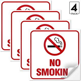 (4 Pack) No Smoking Sign Stickers, 5.5x5.5 Inches 4 Mil Vinyl Self Adhesive Durable Decal Stickers Long Lasting Weatherproof and UV Protected, Made in USA by SIGO SIGNS
