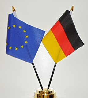 "Europese Unie en Duitsland Vriendschap Tafelvlag Display 25cm (10"")"