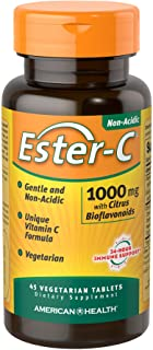 American Health Ester-C with Citrus Bioflavonoids Vegetarian Tablets - 24-Hour Immune Support, Gentle On Stomach, Non-Acid...