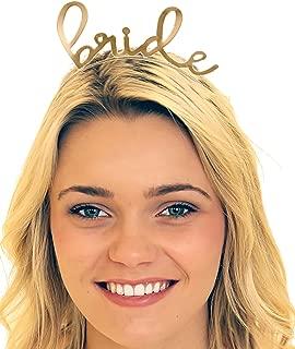 Bride Tiara Headband Gold Wedding - Bridal Shower, Bachelorette Party Tiara Headband HdBd(Lvly Bride) GLD