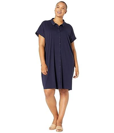 Eileen Fisher Plus Size Classic Collar Knee Length Dress (Midnight) Women