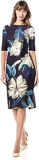 GABBY SKYE Women's Elbow Sleeve Round Neck Floral Print Midi Sheath Dress