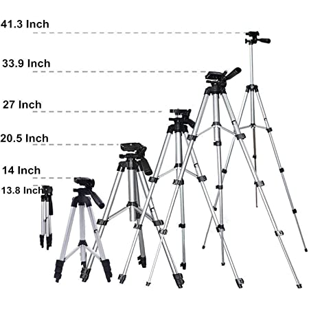 Sketchfab Pro Smart Aluminium Adjustable Portable and Foldable Tripod Stand Mobile Clip and Camera Holder with Bag