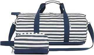 "Oflamn 20"" Travel Barrel Duffle with Toiletries Bag Round Weekender Sport Gym Bag (Blue/White Stripe)"