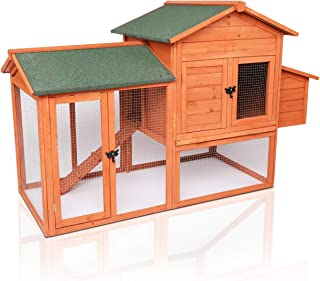 """LAZY BUDDY Chicken Coop, 41"""" Wooden Chick Cage with Egg Box, Indoor and Outdoor Use Chicken Coop with Waterproof Roof for Chicken and Other Pets (Medium)"""