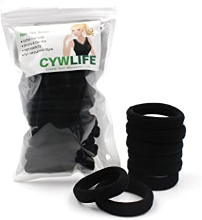 CYWLIFE 12-14MM Large Hair Ties Bands for Women Girls Men for SUPER Thick Curly Heavy Hair, 20 PCS Black, No Crease Seamless Ponytail Holders Scrunchie, No Damage No Slip Soft Hair Elastics