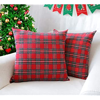 4TH Emotion Set of 2 Christmas Scottish Tartan Plaid Throw Pillow Covers Cushion Case Cotton Polyester for Farmhouse Home Decor Red and Green, 20 x 20 Inches