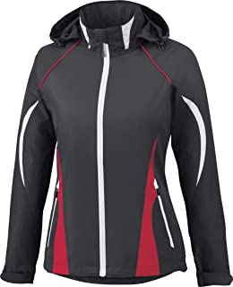 North End Impact Ladies Active Lite Color-Block Jacket. 78644-Black Silk/Olympic Red/White