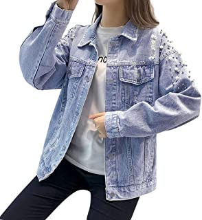 Womens Coats, Women Button Long Sleeve Pearl Beading Denim Open Front Jean Jacket Overcoat