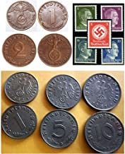 DE 1940 AMAZON SPECIAL! COLLECTION 10 NAZI COINS & STAMPS, ALLw HITLER or SWASTIKA! BUY 2 SETS GET 25 ITEMS (5 EXTRA FREE STAMPS), BUY 3 GET 40 ITEMS (10 EXTRA FREE STAMPS)! Very Fine to Uncirculated