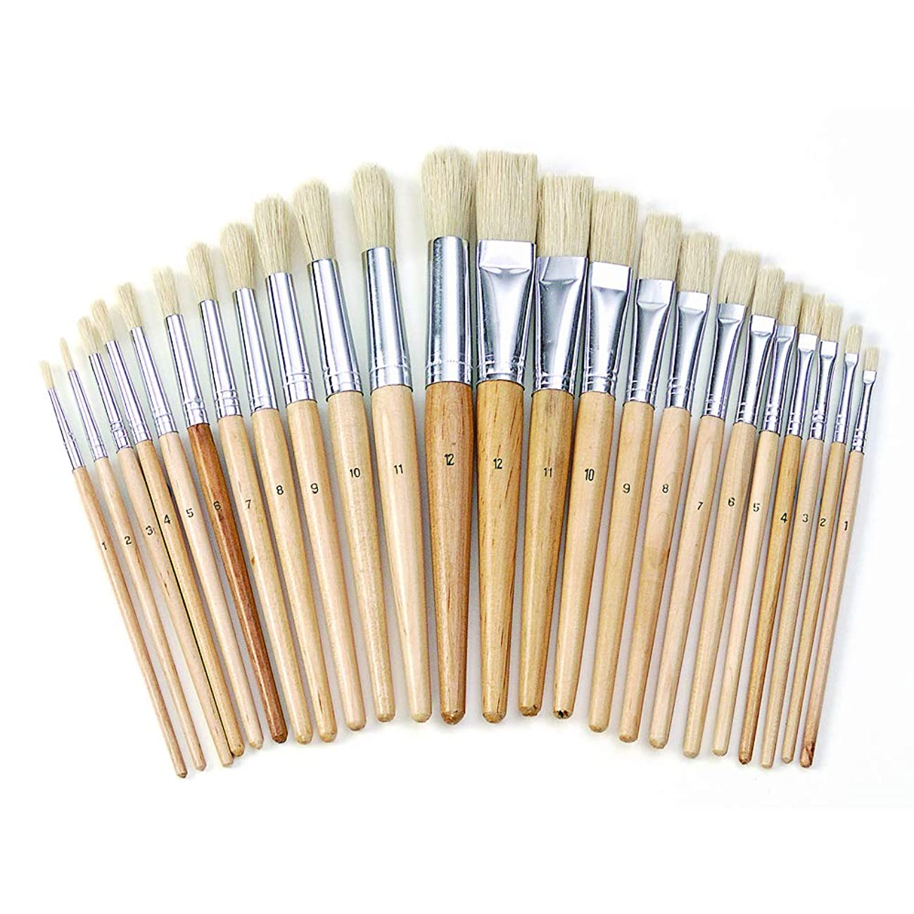 Colorations Easel Paint Brushes Assortment Value Pack Classroom Size Art Supplies for Painting (24 Pack)