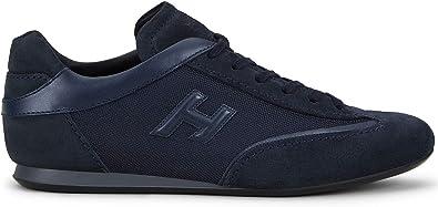 Hogan Sneakers Uomo Olympia Blu in Suede e Tessuto - HXM0570I972 JGF151D - Taglia 5