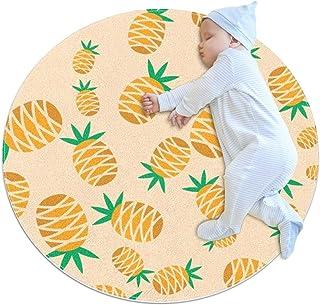 Orange ananas, barn rund matta polyester överkast matta mjuk pedagogisk tvättbar matta barnkammare tipi tält lekmatta