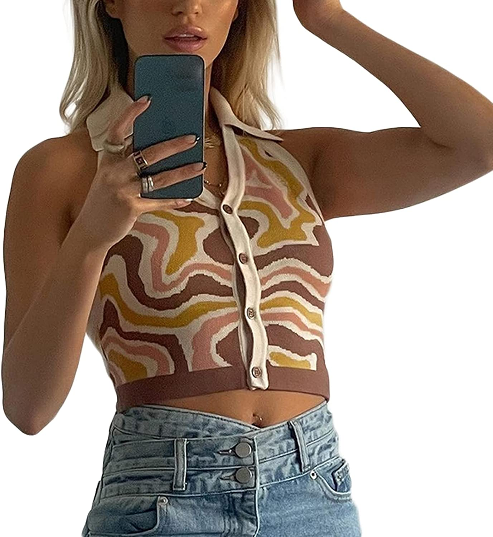 Fashion Halter Vest Sexy Girls Y2K Striped Knitted Vest Slim Fit Streetwear Top