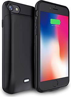 """NRO Battery Case for iPhone 6 6s 7 8 (4.7"""") 6000mAh Portable Rechargeable Extended Battery Pack Protective Charging Case with Tempered Glass Screen Protector & Metal Ring Stand"""