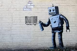 Banksy Barcode Robot Graffiti Stencil Street Art Urban Spray Paint Artist Poster - 18x12