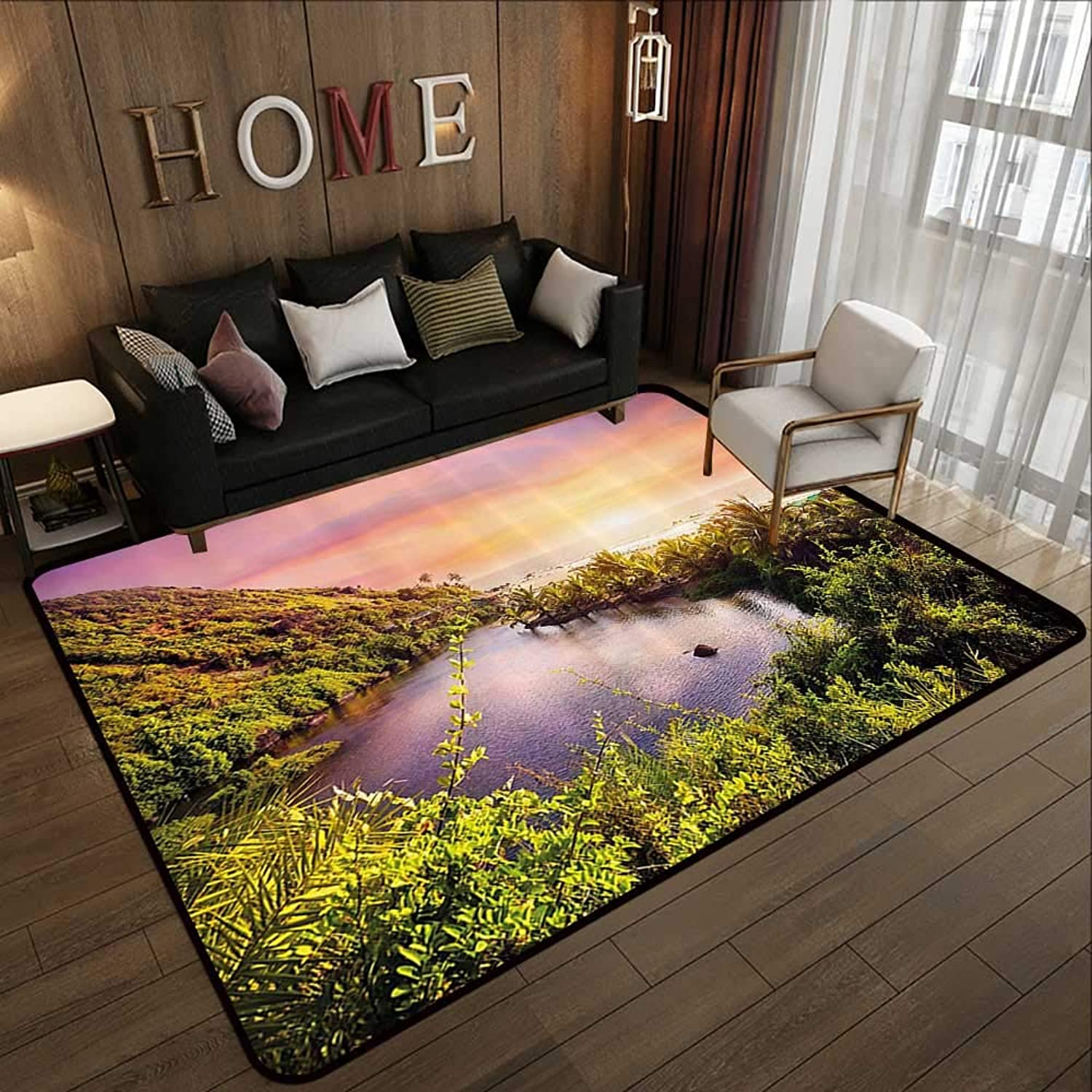 Modern Area Rug with Non-Skid,Landscape,Tropical India Goa Arambol Beach Sweet Lake with Forest Trees Scenery Artwork,Multicolor 47 x 59  Indoor Super Absorbs Doormat