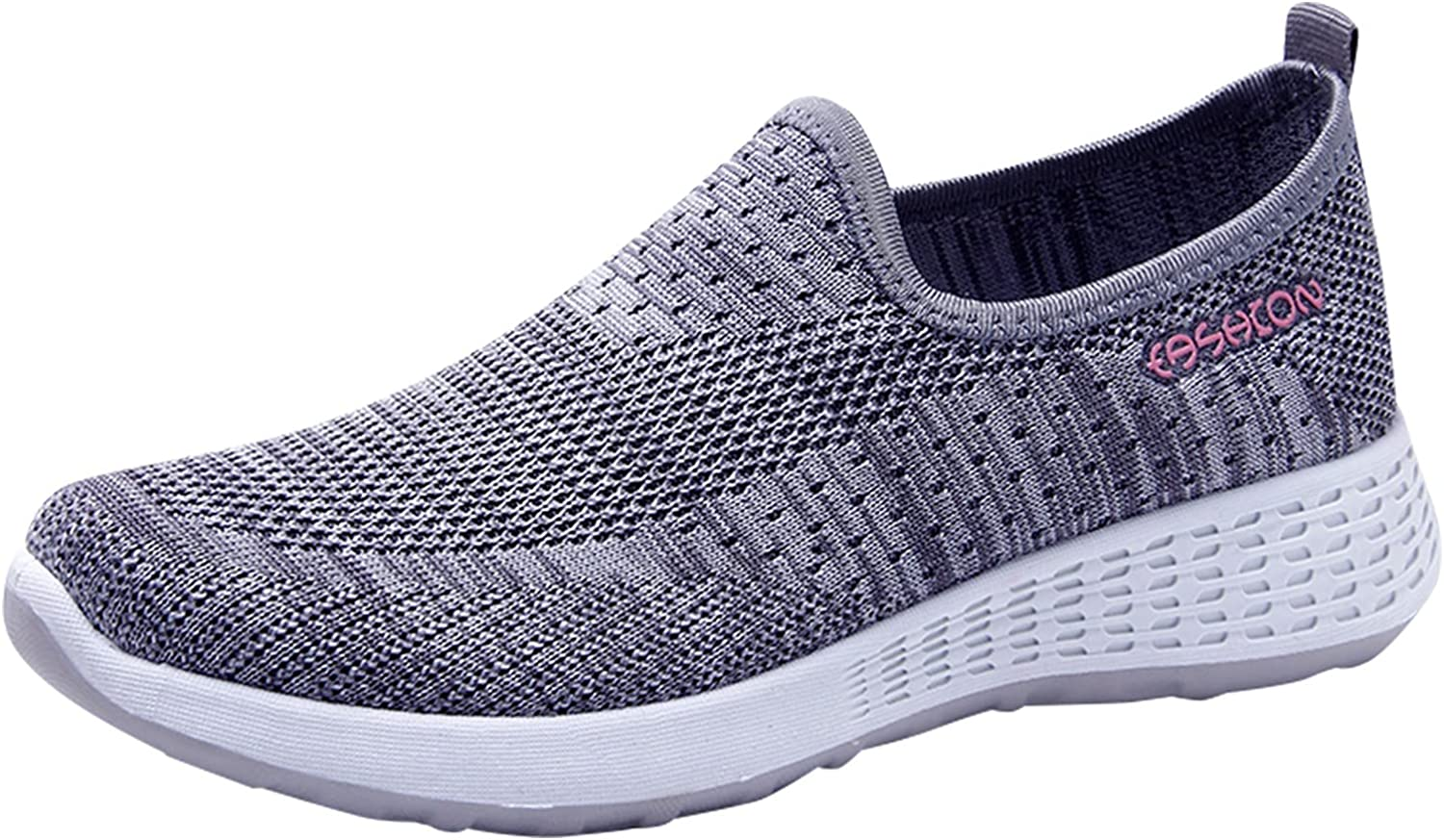 USYFAKGH Women's Walking Shoes Sock Sneakers Slip on Mesh Air Cushion Comfortable Wedge Easy Shoes Platform Loafers