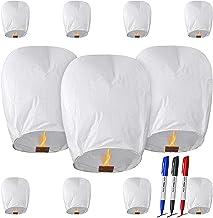 CAMTOA White Chinese Paper Lanterns Biodegradable for Weddings, New Years, Festivals, Memorials Japanese Paper Lantern(11 ...