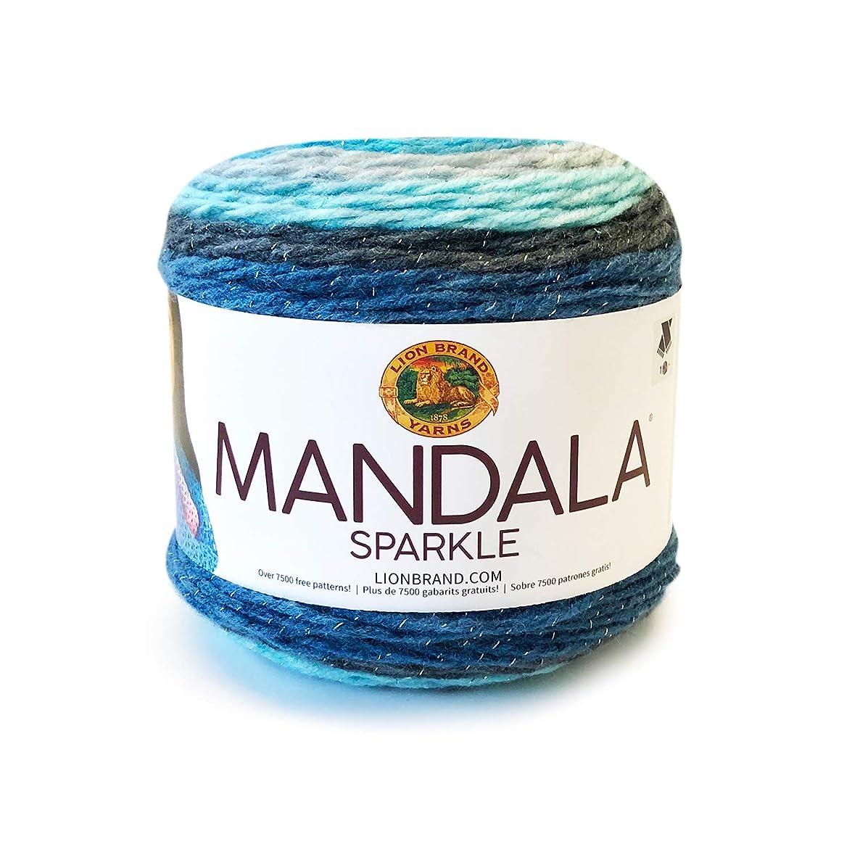 Lion Brand Mandala Sparkle Aquarius - New Color Navy Sky Blue Gray