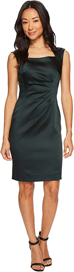 Tahari by ASL - Petite Square Neck Stretch Satin Sheath Dress