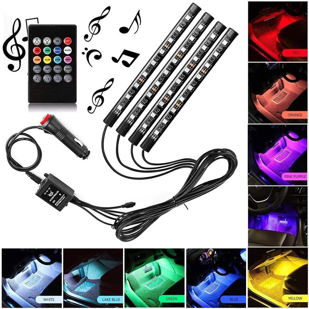 Xintaistore Car LED Strip Light 4pcs 72 LED DC 12V Multicolor Music Car Interior Light LED Under Dash Lighting Kit with Sound Active Function and Wireless Remote Control Car Charger