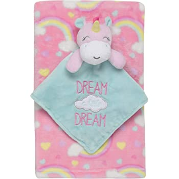 Plush Blanket Gift Set Girl Baby Blanket And Snuggle Blankie Set