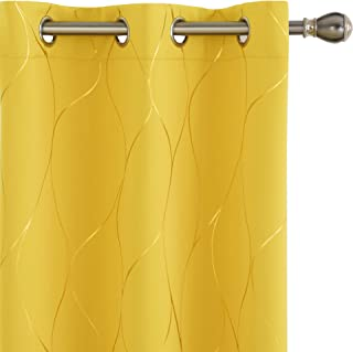 Deconovo Grommet Blackout Curtains, Foil Printed Grommet Room Darkening Window Panels, Thermal Insulated Curtain Drapes fo...