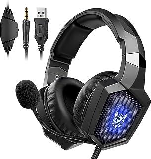 Audífonos Gamer para PS5, Xbox One, PC, PS4 Auriculares para Juegos con Sonido Envolvente, Cancelación de Ruido con Micrófono y Luz LED, Diadema Auricular de Gaming Headset para Switch,Tableta,Celulares