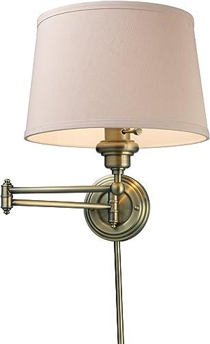 popular Elk 11220/1 Westbrook 1-Light Swing arm Sconce online lowest in Antique Brass online sale