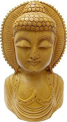 Cloudtail Wooden Buddha Head (Brown, 10 cm)