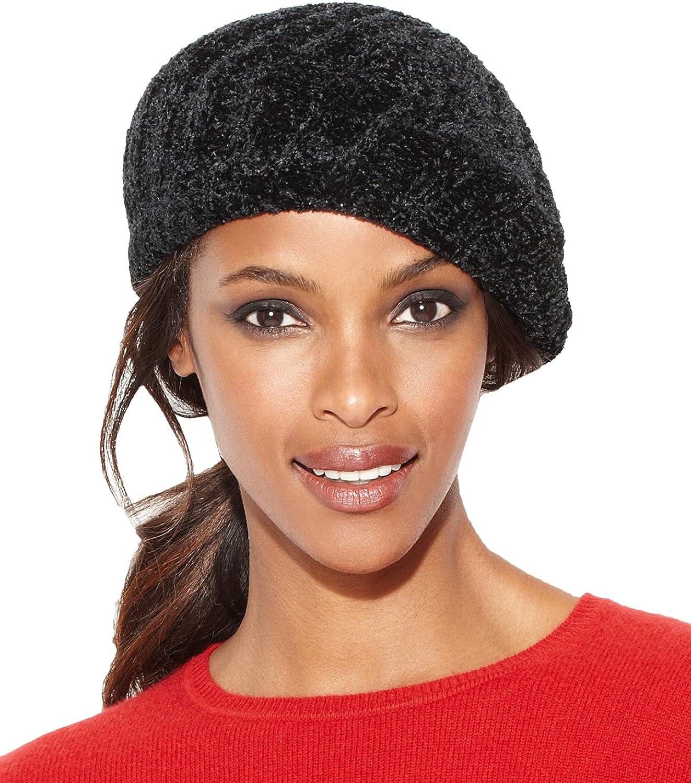 Charter Club Women's Chenille Shaker Beret Hat Black
