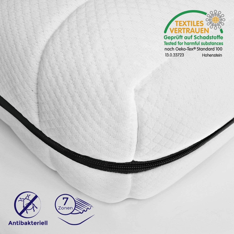 Mister Sandman ergonomische 7-Zonen-Matratze für alle Schlafpositionen – Kaltschaummatratze H2 H3, Premium Doppeltuchbezug, Gesamthhe ca. 15cm 90 x 200 cm, H2&h3