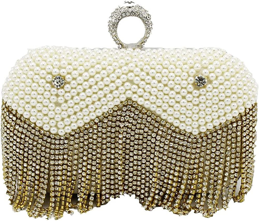 Kingluck Women's Pearl Diamond Tassel Party/Evening cluth Bag In two color