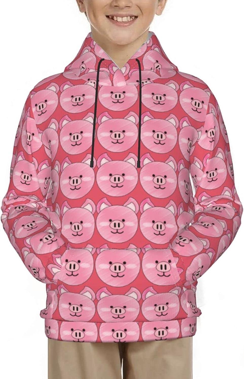 Cute Pig Face Vintage Pink Pullover Hoodie Funny Pattern Hooded