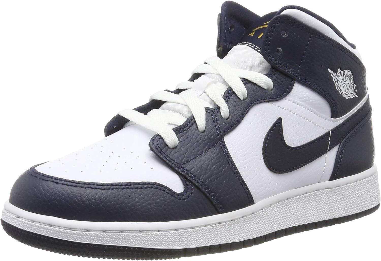 Nike Air Jordan 1 Mid (GS), Chaussures de Basketball Homme
