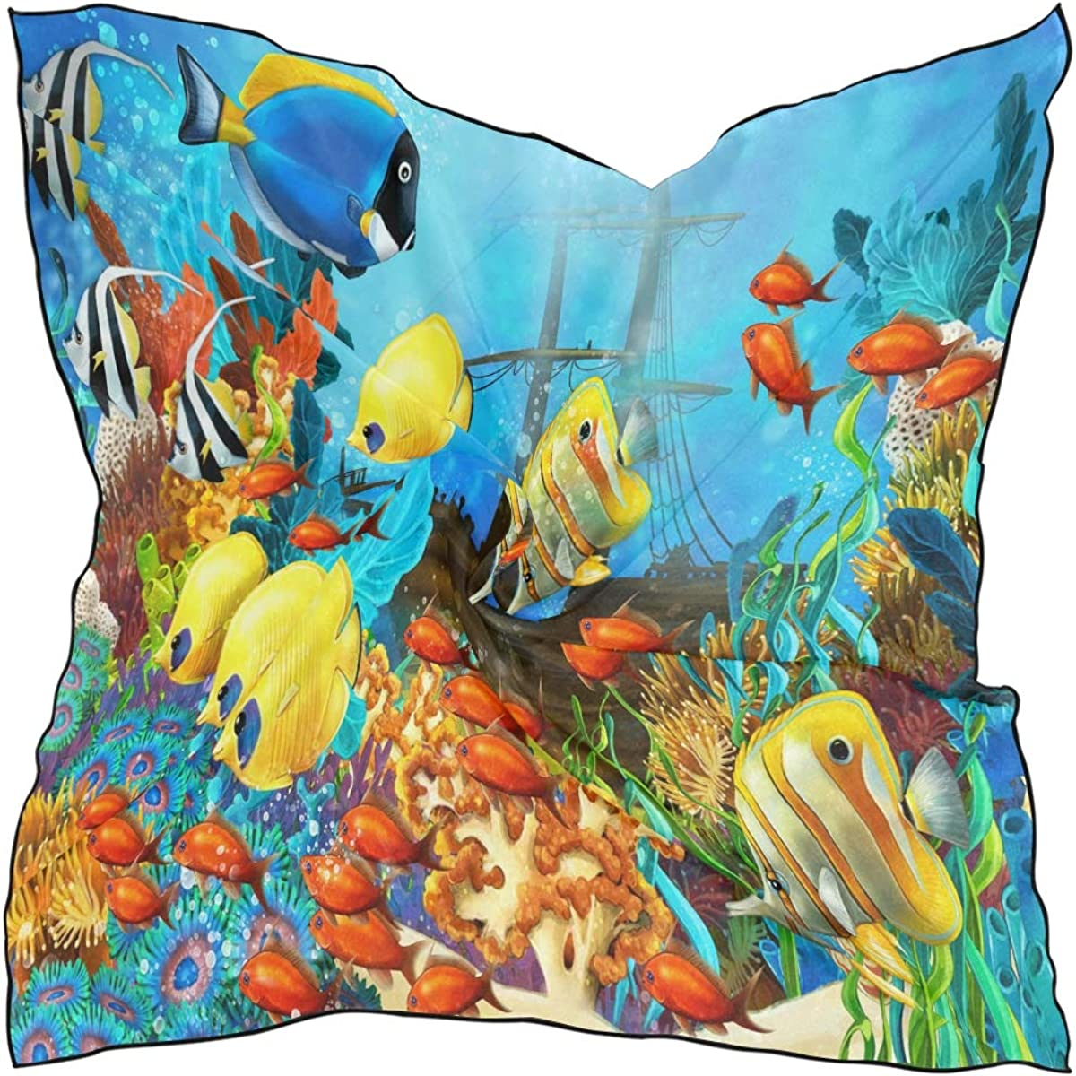 XLING Fashion Square Scarf Ocean Sea Tropical Fish Pattern Lightweight Sunscreen Scarves Muffler Hair Wrap Headscarf Neckerchief for Women Men