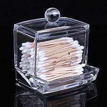 Sungpunet Clear Acrylic Cotton Swabs Cotton Ball Cosmetics Holder Box Organizer