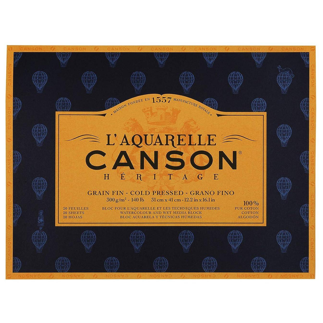 L'Aquarelle Canson Heritage Watercolor Paper 140lb Cold Pressed 20 Sheet Block 12X16