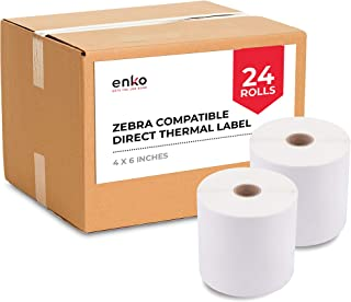 """enKo (24 Rolls, 10,800 Labels) 4 x 6"""" Direct Thermal Address Shipping Labels (4 x 6"""") Compatible for Zebra 2844 ZP-450 ZP-..."""